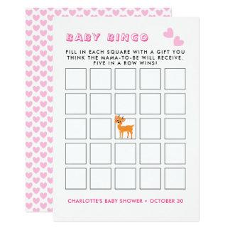 Whimsy Deer Pink Winter | Baby Shower Bingo Game カード