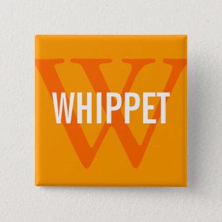 Whippetの品種モノグラムのデザイン 5.1cm 正方形バッジ
