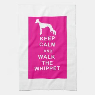 WHIPPETは穏やかな歩行Tタオルの誕生日のクリスマスを保ちます キッチンタオル