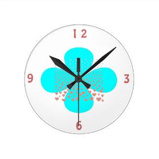 White>のパターン(の模様が)あるな台所時計の水の花 ラウンド壁時計