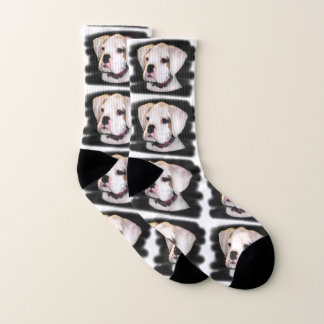 White Boxer puppy dog socks ソックス