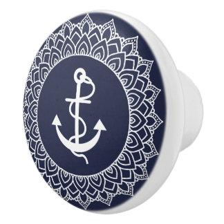 White Circle Mandala & Boat Anchor セラミックノブ