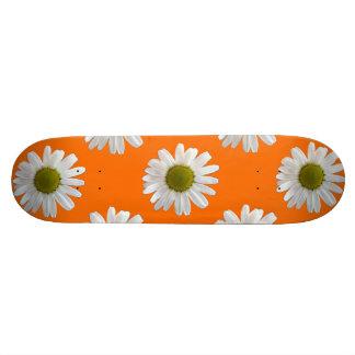 White daisies on orange 21.6cm スケートボードデッキ
