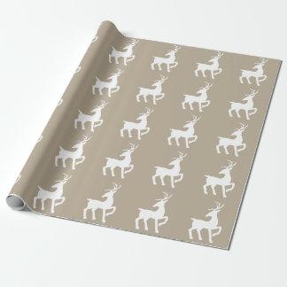 White Deer Silhouette Pattern On Beige ラッピングペーパー