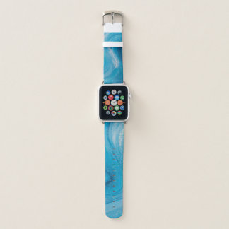 White feather on a pale blue wave apple watchバンド