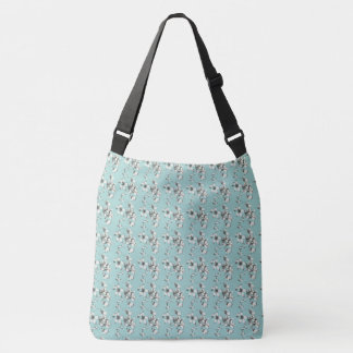 White_Floral-Powder-Blue-Giftware--トートバッグ クロスボディバッグ