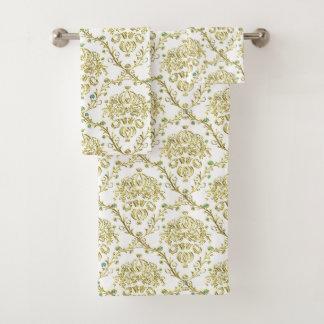 White Gold Damask Towel Set バスタオルセット