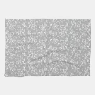 White&Greyの柔らかくモダンなダマスク織 キッチンタオル