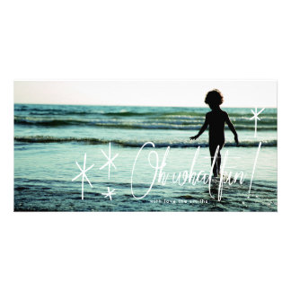 White Lettering Oh What Fun Holiday Photo Card カード