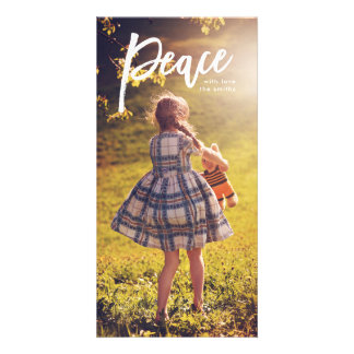 White Lettering Peace Christmas Photo Card カード
