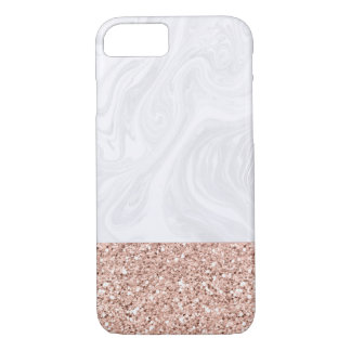 White Marble Dipped in Faux Rose Gold Glitter iPhone 8/7ケース