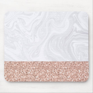 White Marble Dipped in Rose Gold Glitter Mousepad マウスパッド