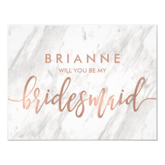 White Marble & Rose Gold Will You Be My Bridesmaid カード
