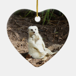 White_Meerkat_Grinsの_Heart_Ceramic_Ornament セラミックオーナメント