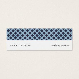 White navy blue grey criss-cross modern card スキニー名刺