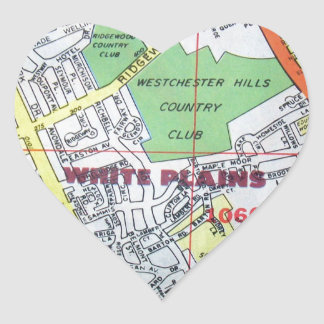 WHITE PLAINSのヴィンテージの地図 ハートシール