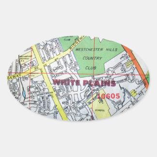WHITE PLAINSのヴィンテージの地図 楕円形シール