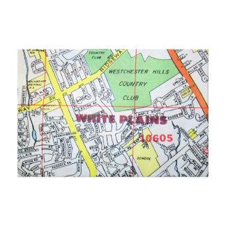 White PlainsのNYのヴィンテージの地図のプリント キャンバスプリント