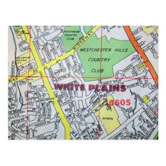 WHITE PLAINSのNYのヴィンテージの地図の郵便はがき ポストカード