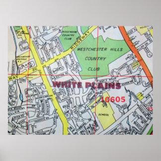 White PlainsのNYのヴィンテージの地図ポスター ポスター