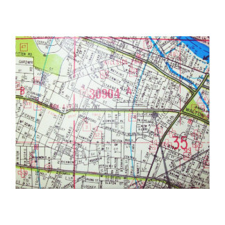 WHITE PLAINSのNYのヴィンテージの地図 キャンバスプリント