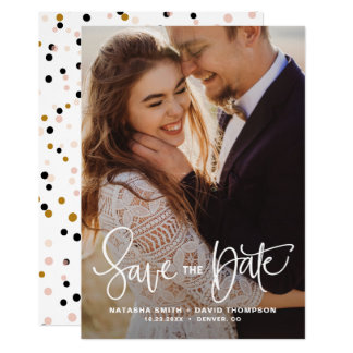 White Pretty Hand Lettering Photo Save the Date II 12.7 X 17.8 インビテーションカード