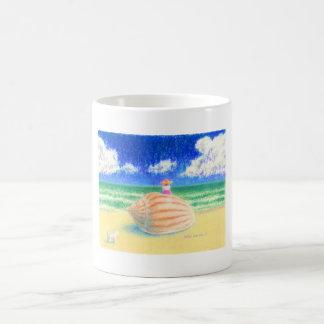 White Puppy And Lovely Girl コーヒーマグカップ