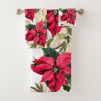 White & Red Winter Poinsettia Flower Towel Set バスタオルセット
