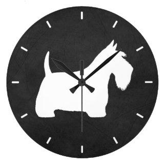 White Scottish Terrier Silhouette ラージ壁時計