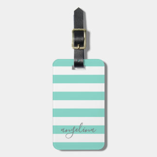 White Striped Pattern Custom Name - CAN edit COLOR ラゲッジタグ