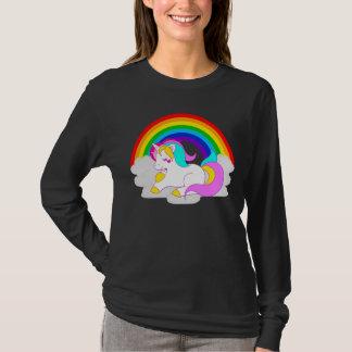 White Unicorn Cloud Rainbow Women's Long Sleeve Tシャツ