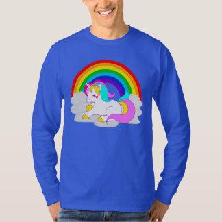White Unicorn on Cloud Rainbow Men's Long Sleeve Tシャツ