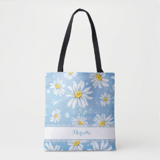 White Watercolor Daisies トートバッグ