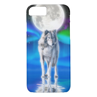 White Wolf & Aurora Arctic Wildlife Scene iPhone 8/7ケース