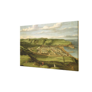 Whitehaven、Flattホールを示すCumbria c.1730-35 キャンバスプリント