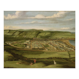 Whitehaven、Flattホールを示すCumbria c.1730-35 ポスター