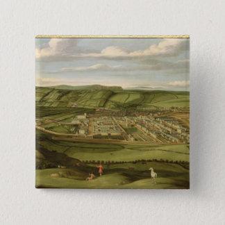 Whitehaven、Flattホールを示すCumbria c.1730-35 缶バッジ