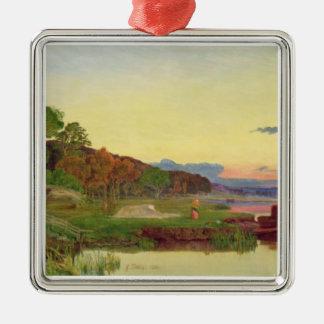 Whitlingham、ノーフォーク1860年(キャンバスの油) メタルオーナメント