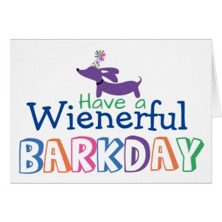 Wienerful Barkdayの誕生日のウインナー犬のノートを持って下さい カード