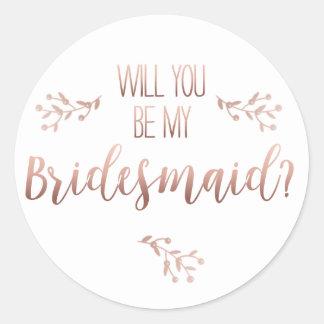 wiil you be my bridesmaid sticker ラウンドシール