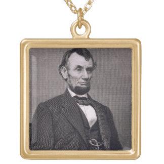 Wil著写真から刻まれるエイブラハム・リンカーン ゴールドプレートネックレス