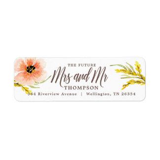 Wildflower Watercolor Return Bohoのシックな未来の夫人 ラベル