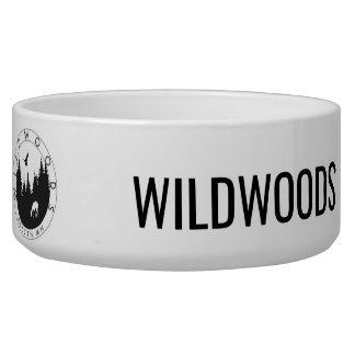 Wildwoodsのロゴの陶磁器のペットボウル 犬用ご飯皿