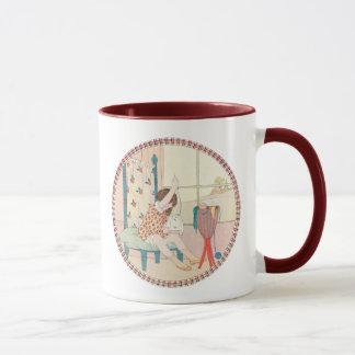 Willebeek Le Mair著ヴィンテージの女の子そして刺繍 マグカップ