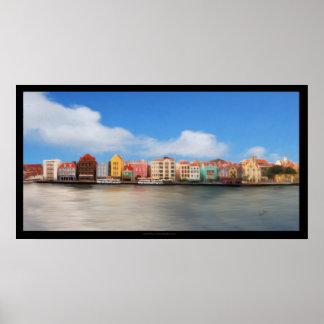 Willemstadのカラフルな建物、Curaçaoポスター ポスター