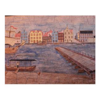 Willemstadクラサオ島のカラフルのアートワーク ポストカード
