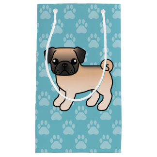 Willoughbyのマスクの漫画犬が付いている杏子の子鹿のパグ スモールペーパーバッグ