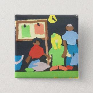 Willowcatdesign著ペーパーコラージュをきれいにしている学生 5.1cm 正方形バッジ