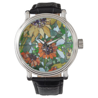 Willowcatdesigns著ヒマワリのモザイク腕時計 腕時計