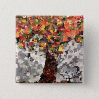 Willowcatdesigns著秋の木の紙のコラージュPin 5.1cm 正方形バッジ